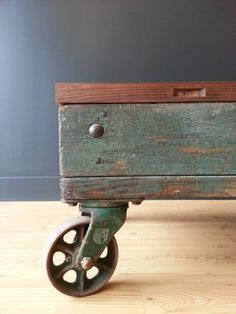 Hey, I found this really awesome Etsy listing at https://www.etsy.com/listing/191130930/industrial-blue-cart-coffee-table-with