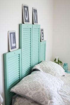 Repurposed shutter headboard