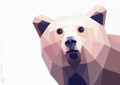 Bear, Grizzly Bear, 2, Geometric print, Original illustration, Animal print, Minimal art, Nursery wall art