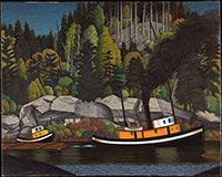 Artist, E. Hughes, Canadian, 1913 - 2007 81 x cm oil on canvas Purchased 1951 National Gallery of Canada (no. Art Inuit, Emily Carr, Group Of Seven, Tug Boats, Small Paintings, Canadian Artists, Vancouver Island, American Art, Les Oeuvres