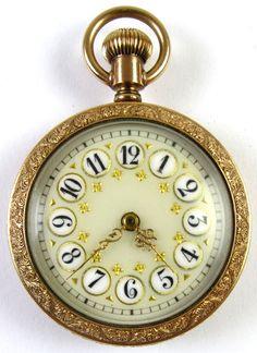 10k Gold Addison Enameled Dial Pocket Watch