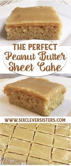 Peanut Butter Sheet Cake | Recipe | Bars | Sheetcake Recipes | Dessert | Peanut Butter Dessert | Sheet Cake Recipes | Find this Perfect Peanut Butter Sheet Cake Recipe on Six Clever Sisters Blog!