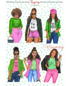 Fashion Girls Planner Sticker Sheet - Wake Up And Makeup! Fashion Art, Girl Fashion, Fashion Drawings, Happy Planner Accessories, Sorority Fashion, Alpha Art, Alpha Kappa Alpha Sorority, Aka Sorority Gifts, Disney Couture