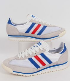 Adidas SL 72 Trainers in White/Blue/Red,adidas SL72 running shoes, white