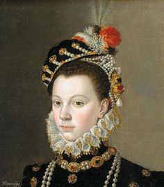 Elisabeth of Valois – by Juan Pantoja de La Cruz, circa 1605 - Elisabeth of Valois was a Spanish queen consort. The eldest daughter of Henry II of France and Catherine de' Medici, she married Philip II of Spain as his third wife. Victorian Portraits, Renaissance Portraits, Renaissance Paintings, Renaissance Kunst, Renaissance Fashion, Elizabethan Era, Portraits From Photos, Historical Costume, 16th Century