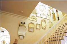 love this look of mirrors up the staircase