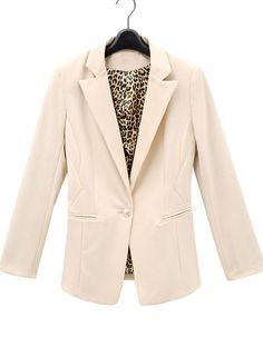 #SheInside Ivory Brown Leopard Cuff Lapel Single Button Pockets Suit