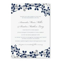 Monogram Royal Blue Silver Wedding Invitations | Blue invitations ...