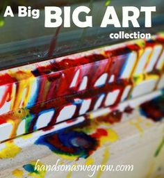 40 'Big Art' Projects for Kids! Paint outside with a ball, a mop, a plunger and many more ideas for BIG art.