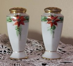 Antique Floral Salt & Pepper Shakers~Marked Record Germany