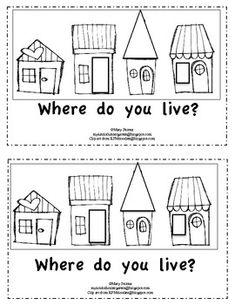 Kindergarten Emergent Reader-Where Do You Live?