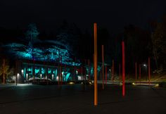 LAND Arkitektur designs Masmo Square in Stockholm lighting striking color colour night square