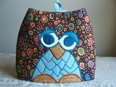 inspiration only, another owl tea cosy in kaffe fassett fabrics with machine embroidery