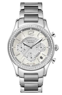 Breil 'Miglia' Crystal Bezel Chronograph Bracelet Watch, 37mm available at #Nordstrom