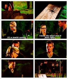 Arrow - Felicity Smoak #3.2 #Season3 this is so precious its a little detail but after Felicity did it Oliver followed even though he's not jewish.<3
