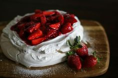 Pavlova - a Kiwi classic! This one's pretty fool proof - you put everything in a bowl at once, and beat until the mixture forms stiff peaks.