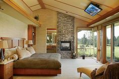 Wrong colour decor, but master bedroom with stone fireplace from Architectural designs plan