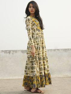 Taraab - Long Hand Block Cotton Tier Dress  - D139F1060 Indian Dresses, Indian Outfits, Casual Dresses, Girls Dresses, Long Dresses, Maxi Dresses, Fashion Dresses, Kurti Patterns, Tiered Dress
