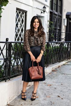 Corporate Catwalk by Olivia | Fashion Blogger in the Corporate World : Fall into Leopard :: Forever 21 top & Zara skirt