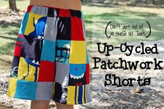 Up-cycled Patchwork Shorts from Outgrown Tee's | Scattered Thoughts of a Crafty Mom