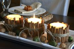 DIY cinnamon stick candles.  If you put the finished candle in the microwave you can press the cinnamon sticks into the softened candle wax