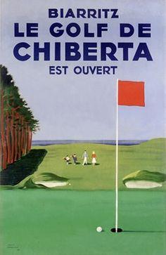'Biarritz Golf' Wonderful Glossy Art Print Taken From A Rare Vintage Travel Poster
