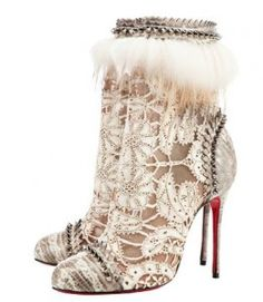 55696745f4 Christian Loubotin lace boots. The most interesting shoes I ve ever seen.  Would