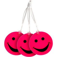 Lewis N. Clark Set Of 3 Neon Smiley Face Luggage Tags ($14) ❤ liked on Polyvore featuring bags, luggage, luggage accessories, pink and travel accessories