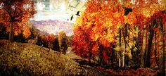 Glass mosaic mural by Sandra Bryant  Into the Autumn Woods Artprize 2nd place winner 2-dimensional public vote.  7.5ft x 18ft