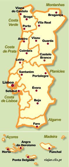 Map of Portugal and the Autonomous Regions, Azores and Madeira Portugal Vacation, Hotels Portugal, Visit Portugal, Portugal Travel, Portugal Trip, Funchal, Algarve, Braga Portugal, Spain And Portugal
