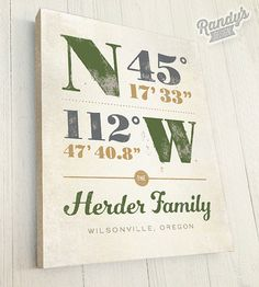 Custom Canvas, Personalized Latitude and Longitude Coordinates, Housewarming Gift Family Name Art on Etsy, $38.00