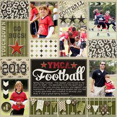 digital scrapbook layout, project life, flag football, girls sports, tween, 2013, YMCA, numbers, stars