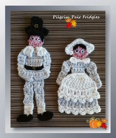 I had a request last Thanksgiving to bring back the pilgrim fridgies, but I just didn't have it in my heart at that time, to rework these, even though I had started the girl.  This year, I felt the nudge to pull this pattern up again and retry.  The Pilgrim Boy will be delivered next Monday