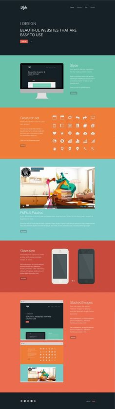 I'm not a huge fan of one-page, long scrolly websites (mostly because they are so trendy right now) but I do like the idea of having each page be very specific. and the color scheme is great.