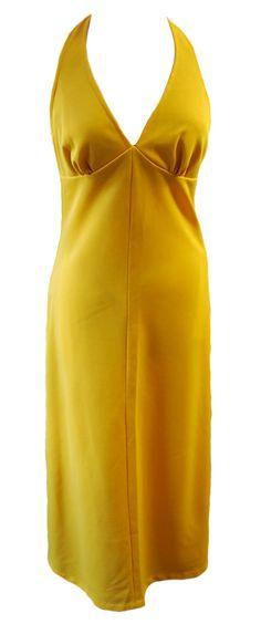 Vintage 1970s Mustard Yellow Halterneck Maxi Dress Size 8/10