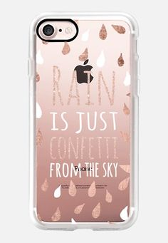 Casetify iPhone 7 Classic Grip Case - Modern rain is just confetti from the sky quote rose gold white typography drops by Girly Trend by Girly Trend Iphone 5s, Diy Iphone Case, Girly Phone Cases, Iphone Phone Cases, Phone Covers, Apple Coque, Coque Iphone 5c, Accessoires Iphone, Cute Cases