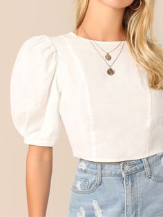 Puff Sleeve Keyhole Back Crop Top - Puff Sleeve Keyhole Back Crop Top – Source by - Grunge Look, Style Grunge, 90s Grunge, Soft Grunge, Crop Top Outfits, Mode Outfits, Grunge Outfits, Casual Outfits, White Crop Top Outfit