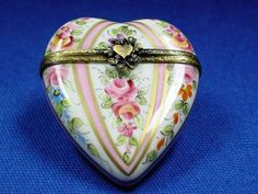 Large Pink Heart Limoges Box