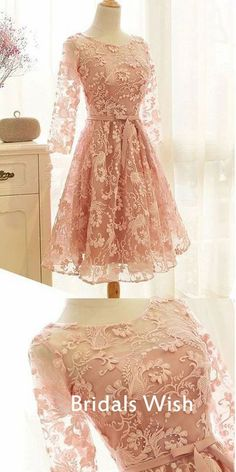 Affordable Pink Lace Long Sleeveless Short Homecoming Dress EW0150 #homecoming #homecomingdresses #2020homecoming #homecomingdress Burgundy Homecoming Dresses, Short Dresses, Formal Dresses, Party Dresses, Wedding Dresses, Pink Lace, Dream Dress, Dress Making, Appliques