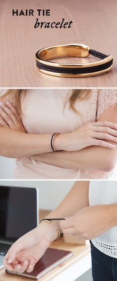 Carry a hair elastic on your wrist in a way that's elegant AND keeps your wrist indent-free.