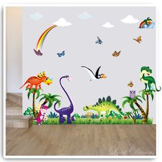 DINOSAUR WALL STICKERS OWL TREE DECOR DECAL BUTTERFLY VINYL NURSERY KIDS CLOUDS