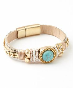 Loving this Gold & Turquoise Beaded Leather Bracelet on #zulily! #zulilyfinds