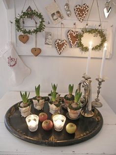 Tray of Hyacinths with Christmas heart display hanging on wall - from Lantlif… Swedish Christmas, Christmas Hearts, Holiday Tree, Scandinavian Christmas, Little Christmas, Christmas And New Year, Christmas Time, Merry Christmas, Mistletoe And Wine