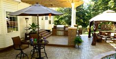 Stamped Concrete Outdoor Entertaining Area Stamped Concrete Greystone Masonry Inc Stafford, VA Stamped Concrete Pictures, Concrete Patio Designs, Concrete Patios, Florida Design, Outdoor Living Rooms, Decks And Porches, Yard Design, Backyard Projects, Cool Landscapes