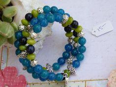 Bracelet wire wrapped Healing stones Apatite, Blue Sandstone, Peridot