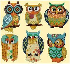 -shit squared cross stitch | Autumn Owls - X Squared Cross Stitch | Not your grandma's crossstich