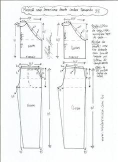 DIY - molde, corte e costura - Marlene Mukai Designer Blouse Patterns, Dress Sewing Patterns, Clothing Patterns, Jumpsuit Pattern, Pants Pattern, Sewing Pants, Pattern Cutting, Pattern Drafting, Fashion Sewing