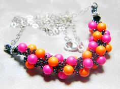 Pop Song 89 Orange and Pink Swarovski Neon Pearl Spiral Necklace by WhimsyBeading, $35.00