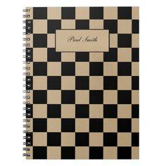 Checkerboard pattern, grid pattern, black squares spiral notebook