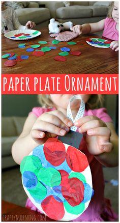 Paper Plate Christmas Ornament Craft #TissuePaper #Christmas craft for kids to make | CraftyMorning.com